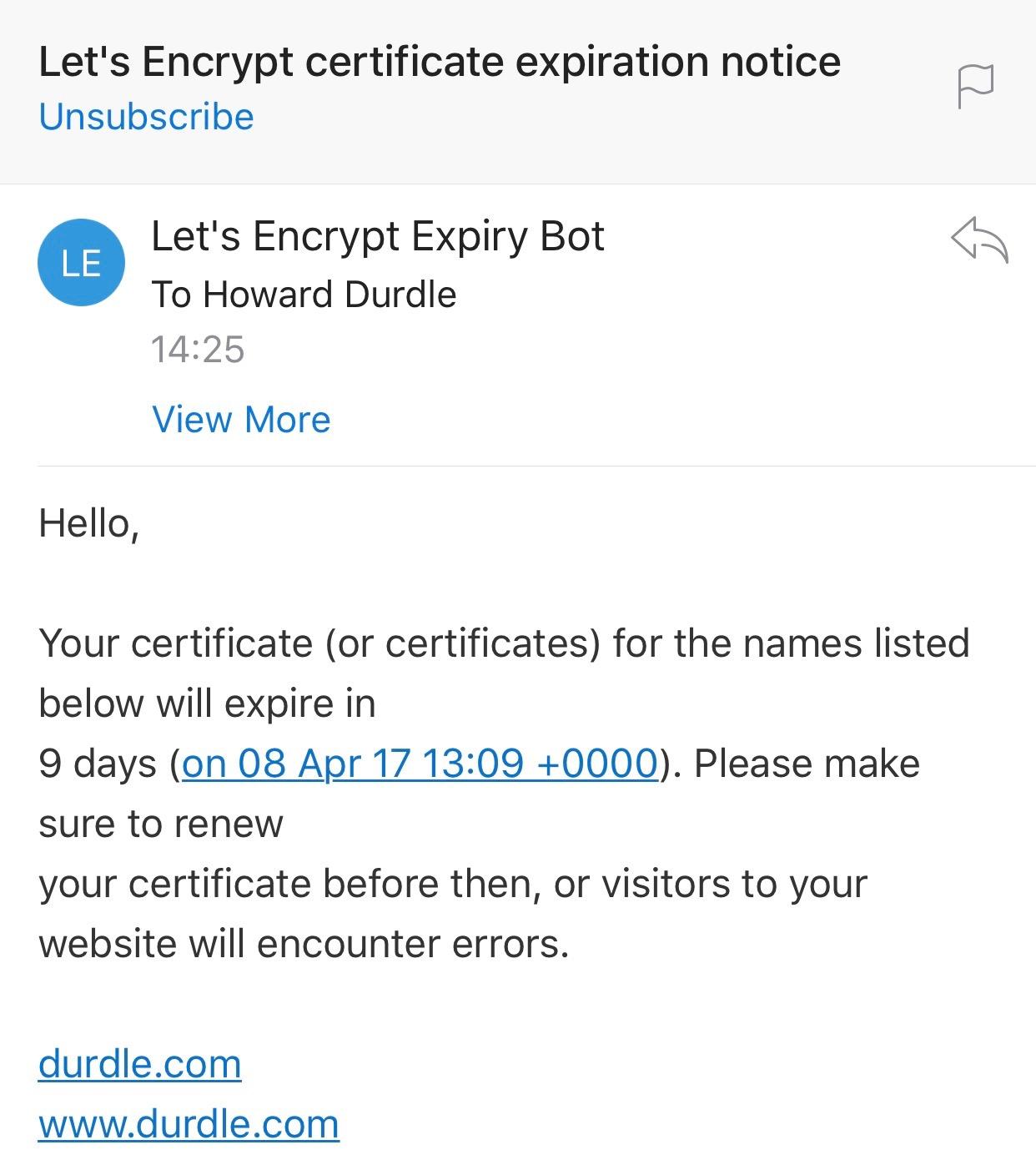 Let's Encrypt certificate expiration notice