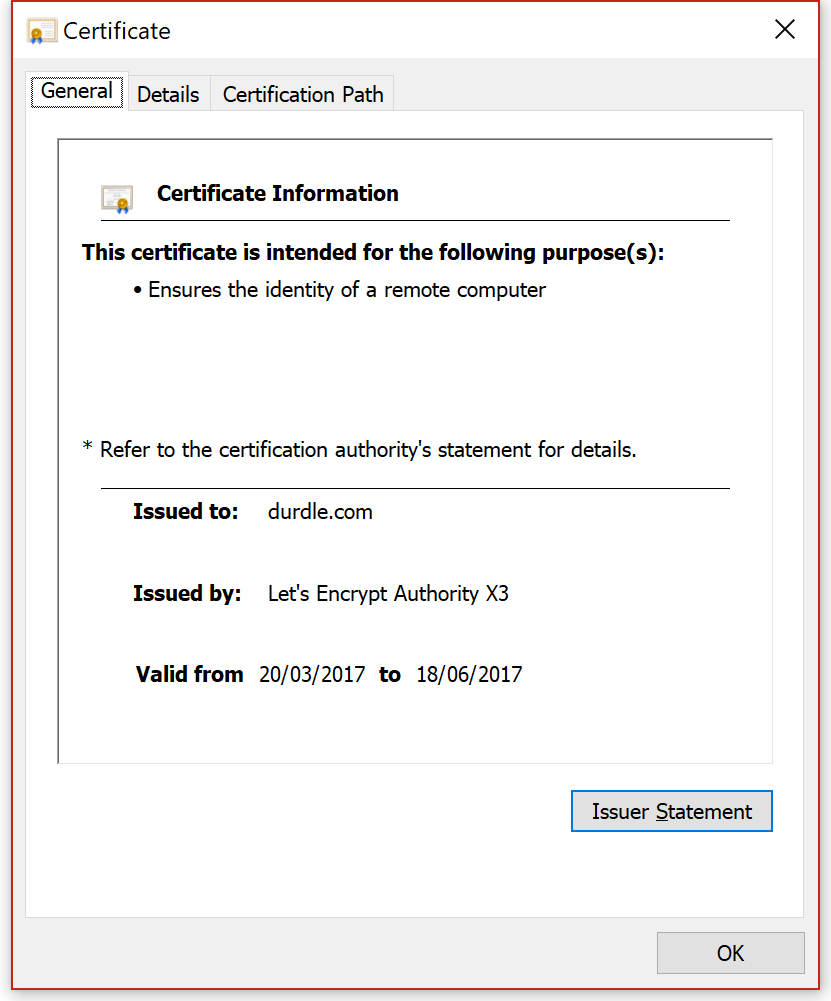 Durdle.com Certificate