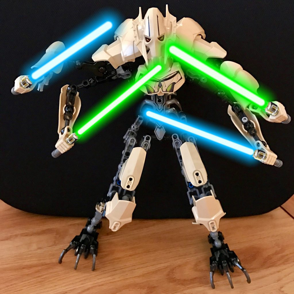 Lego General Grevious with realistic Lightsabers