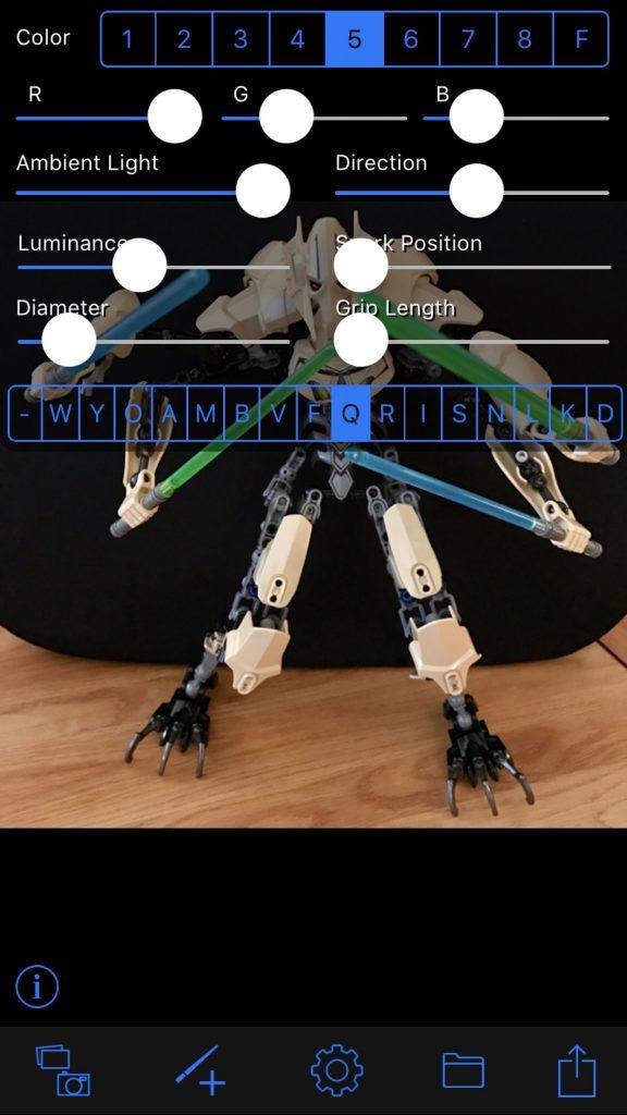 Lightsaber Camera app interface