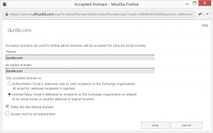 Office 365 Accepted Domains