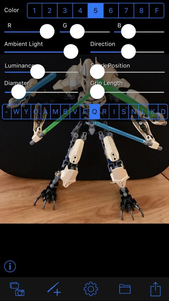 Lightsaber Camera app interface